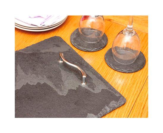 Набор круглых подставок из натурального камня d 11 см Platter Slate SETY1